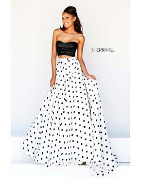 2014 Sherri Hill 21259 Two Piece Polka Dot Gown