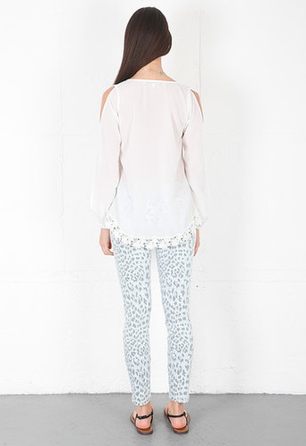 lovers + friends Daydream Blouse with Lace in White with Lace
