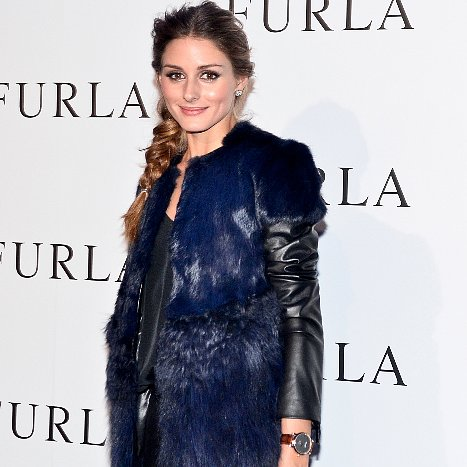 Olivia Palermo in Fur and Leather Jacket