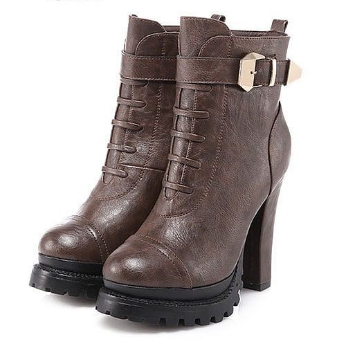 Image of [grxjy5190170]Retro Pure Color Matin Buckle Strap  Chunky High-heeled Booties