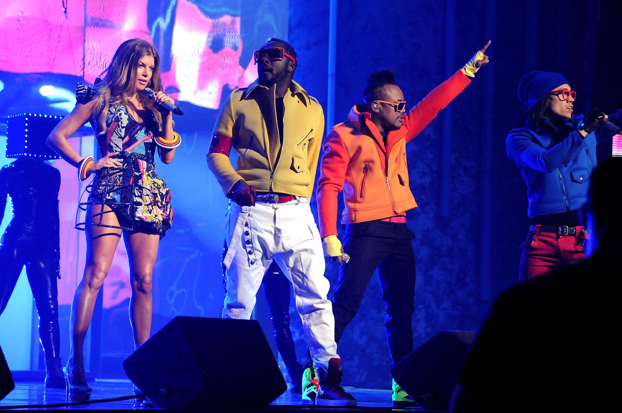 The Black Eyed Peas were cool and colorful during their 2010 performance.