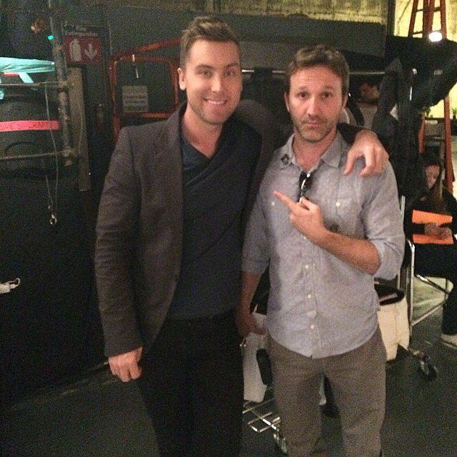 Lance Bass stopped by the set of Men at Work and posed with Breckin Meyer. Source: Instagram user lancebass