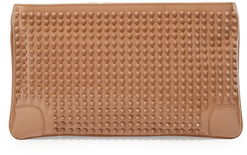Christian Louboutin Loubiposh Studded Clutch Bag, Nude
