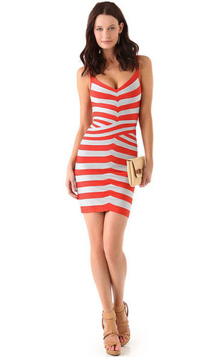 Discount Herve Leger Red Striped Bandage Dress ON Sale