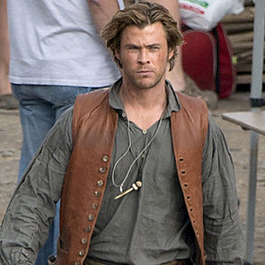 Chris Hemsworth and His Daughter on Set in Spain