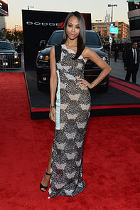 Zoe-Saldana-stepped-out-satin--lace-Roland-Mouret-mixed-print
