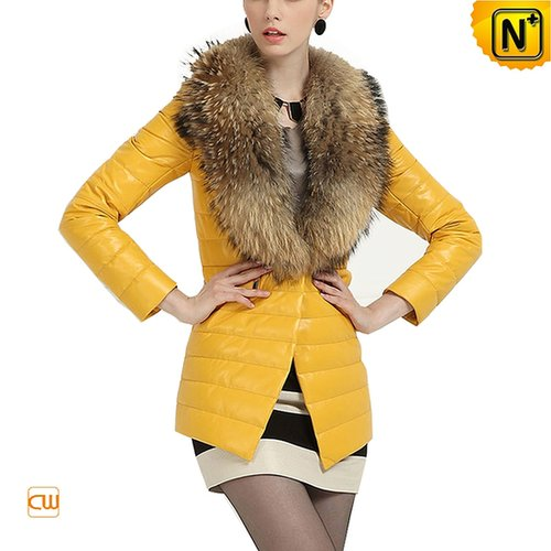 Women Leather Down Coat with Fur Collar CW613582