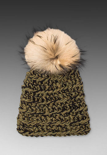 primary Hand Crocheted Toque Fur Pom Beanie in Military Green/Black