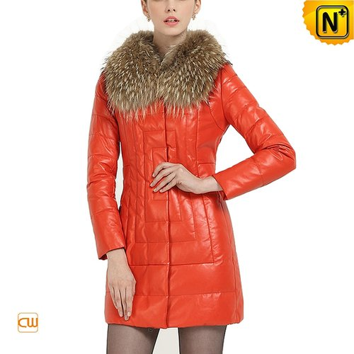 Women Leather Coat with Raccoon Fur Collar CW613507