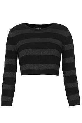 Knitted Velor Stripe Crop