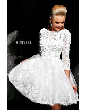 2014 Sherri Hill 4303 Embellished Cocktail Dress White