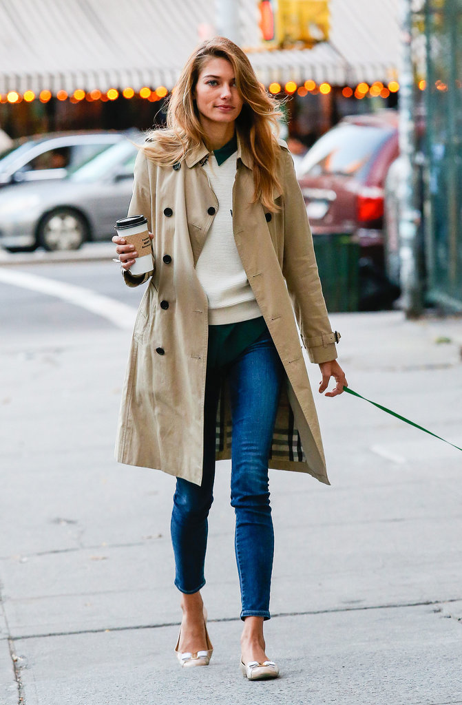 The classic trench was effortlessly chic on Jessica Hart, who wore hers around New York City with cropped jeans and ballet flats.