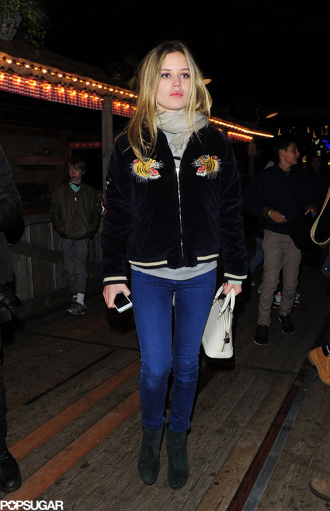 For a night out at London's Winter Wonderland, Georgia May Jagger wore a trendy bomber jacket emblazoned with tigers.