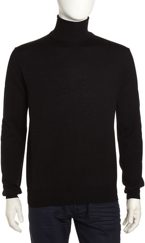 Neiman Marcus Wool-Blend Turtleneck, Black