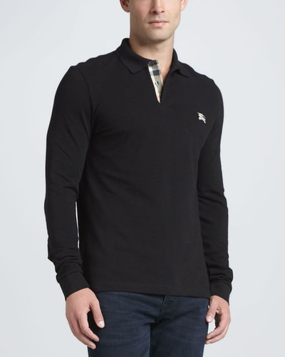 Burberry Brit Pique Long-Sleeve Polo, Black