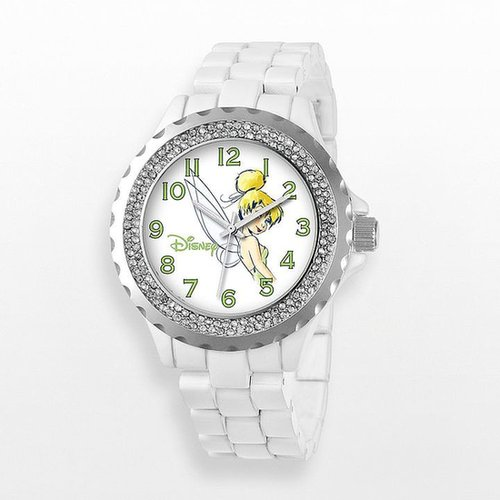 Disney tinker bell silver tone simulated crystal watch - women