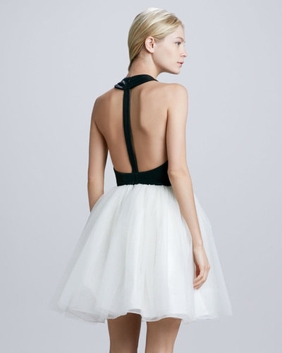 Alice + Olivia Ginnifer Leather T-Back Dress