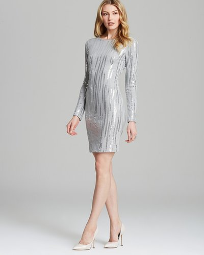 Karen Kane Silver Sequin Knit Dress