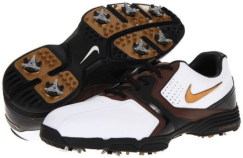 Nike Golf - Lunar Saddle (White/Metallic Stout/Light Chocolate/Black) - Footwear