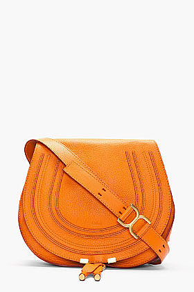 CHLOE Medium Indian Summer Orange Leather Marcie Shoulder Bag