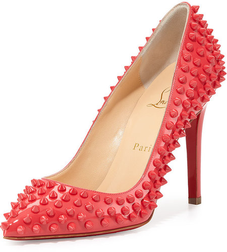 Christian Louboutin Pigalle Patent Spikes Pump, Framboisine