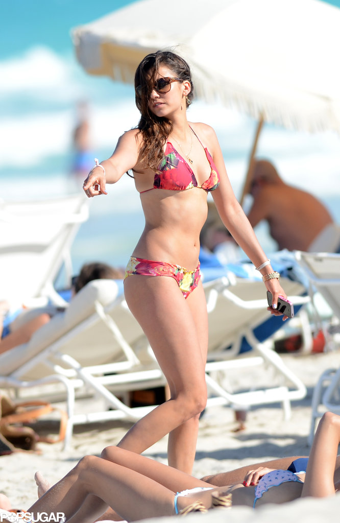 Nina Dobrev showed off her beach style when she visited Miami in April.