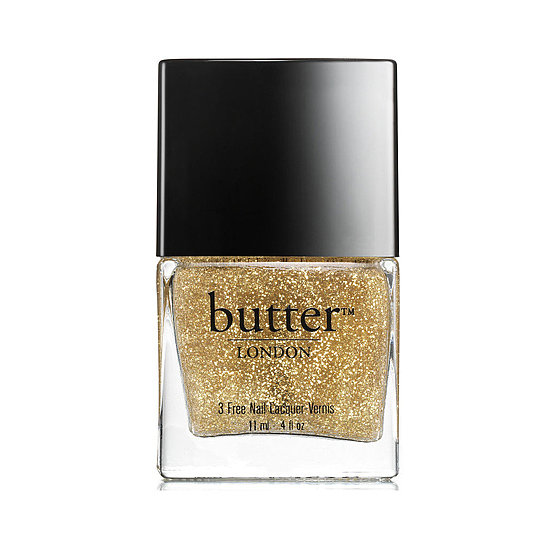 A blend of sheer polish and fine gold glitter, Butter London Stratford Honey Overcoat ($15) gives a soft wash and sparkle to bare nails. But it also looks great on top of a holiday classic like red or even black.