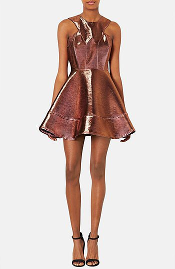 Want a showstopping dress for your friend's NYE bash? Look no further than this Topshop Metallic Skater Dress ($150).