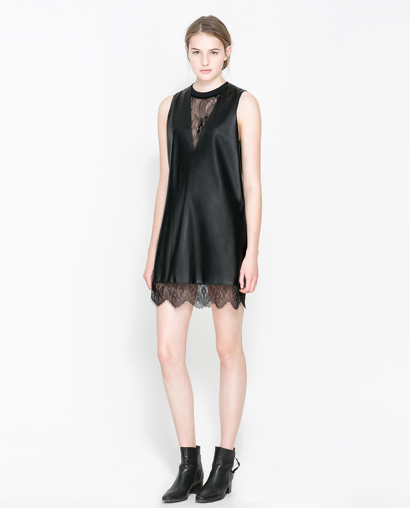 This Zara Faux Leather Dress With Lace ($80) would look sleek and sexy with a pair of silver heels.