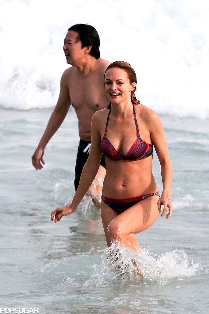 Heather Graham hit the beach in Brazil with her Hangover castmates in May.