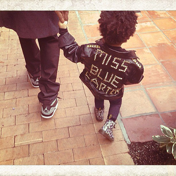 Blue Ivy wore a leather jacket with her name in studs.  Source: Instagram user beyonce