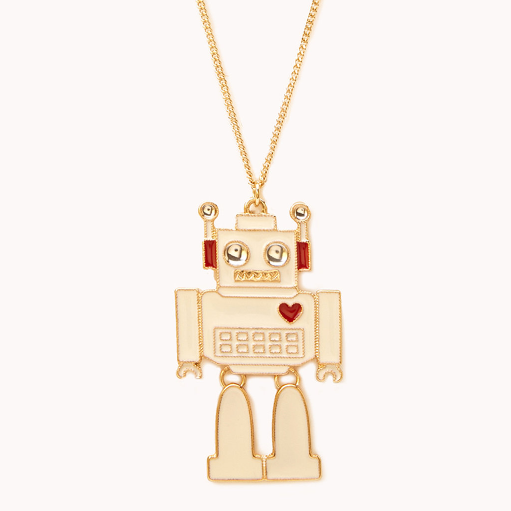 Try to rig the swap, so the tech enthusiast gets this Forever 21 robot necklace ($5).