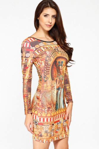 Egyptian Goddess Print Dress @ Cicihot sexy dresses,sexy dress,prom dress,summer dress,spring dress,prom gowns,teens dresses,sex