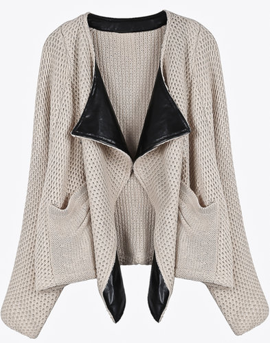 Apricot Contrast PU Leather Lapel Knit Cardigan - STDRESSES