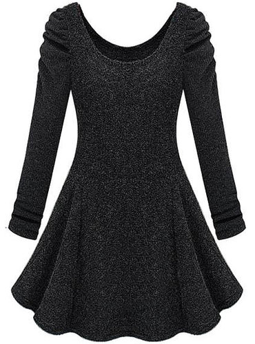 Dark Grey Long Sleeve Ruffle Tweed Dress - STDRESSES