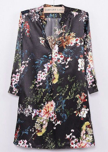 Black V Neck Long Sleeve Floral Blouse - STDRESSES