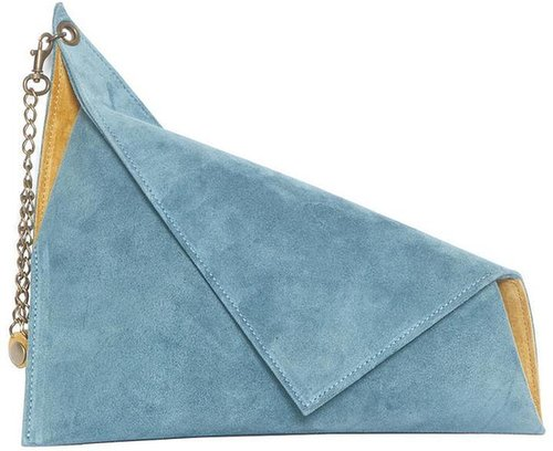 Suede Asymmetric Clutch Bag (Light Blue)