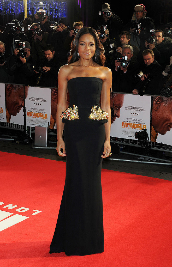 Naomie Harris breathed new life into the peplum with her black column gown at the Royal Film Performance of Mandela: Long Walk to Freedom —heavy metal embellishments made the accented look ultramodern.