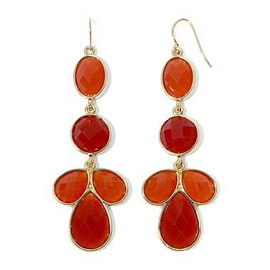 Burnt Orange Linear Drop Earrings