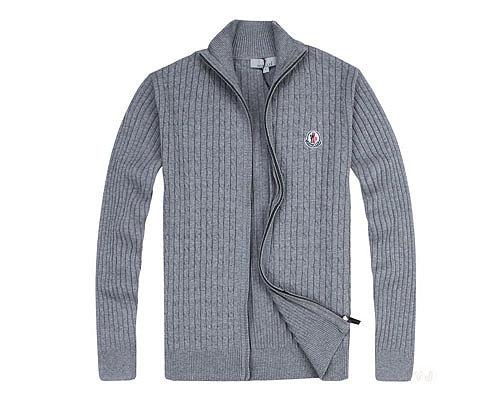 Moncler Mens Sweater Full Zip Gray