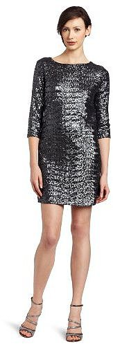 Nicole Miller Women's Swirly Sequins 3/4 Sleeve Shift Dress