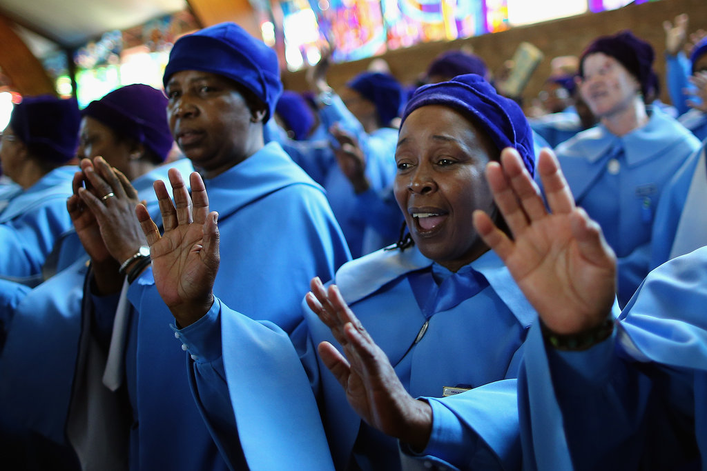 Members of the congregation sang on the national day of prayer for Nelson Mandela.
