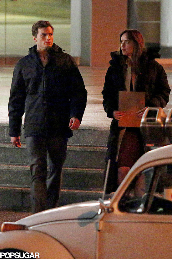 Dornan bundled up in the chilly weather.