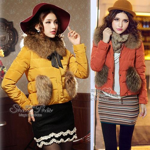 Discount Korean high street winter coat plus size short women's down jacket with fur collar in women down parkas on sightface.co