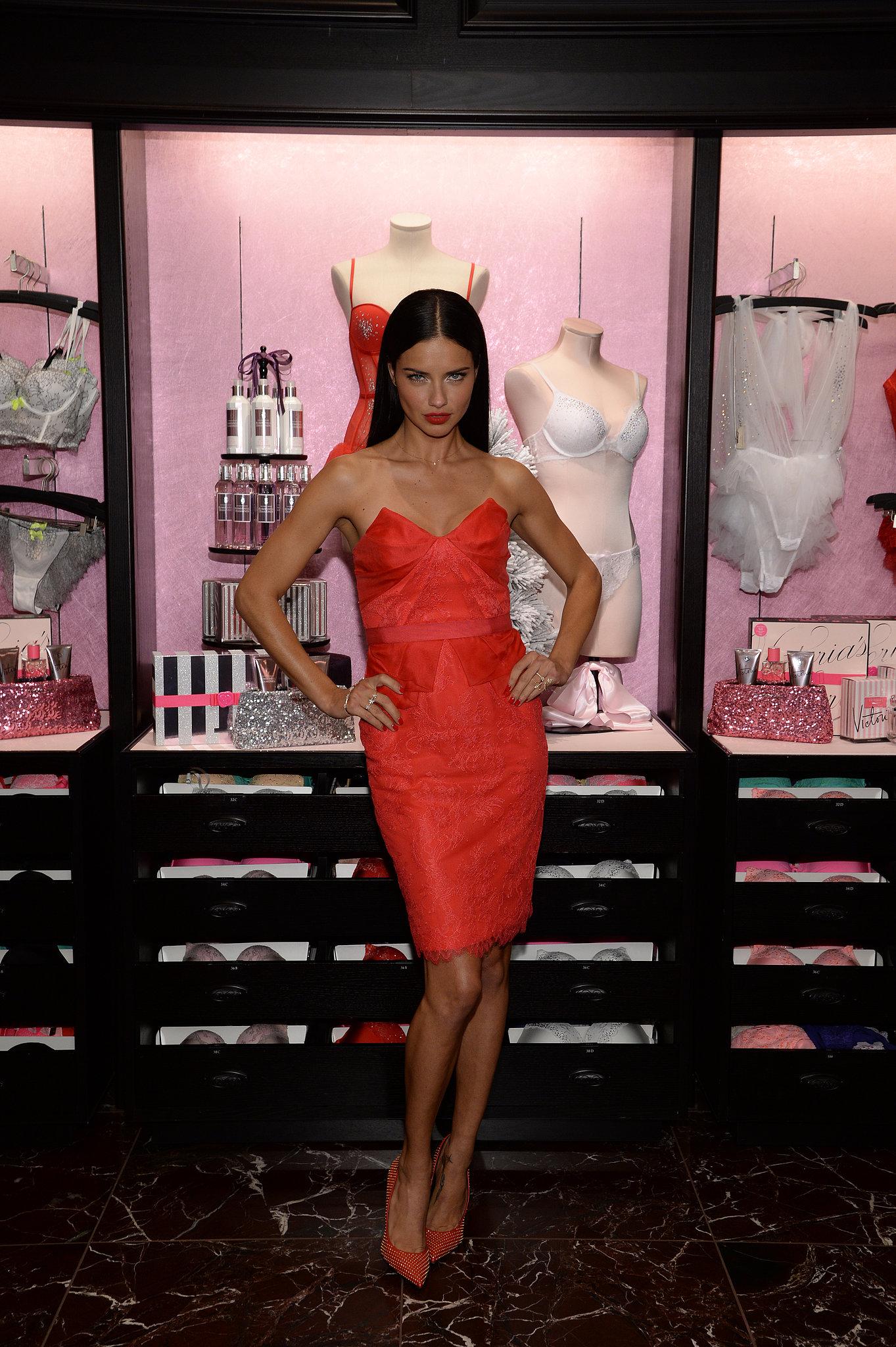 Adriana Lima at the Victoria's Secret Angels holiday celebration.
