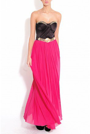 Chain Trim Maxi Dress - Party Dresses - Clothing
