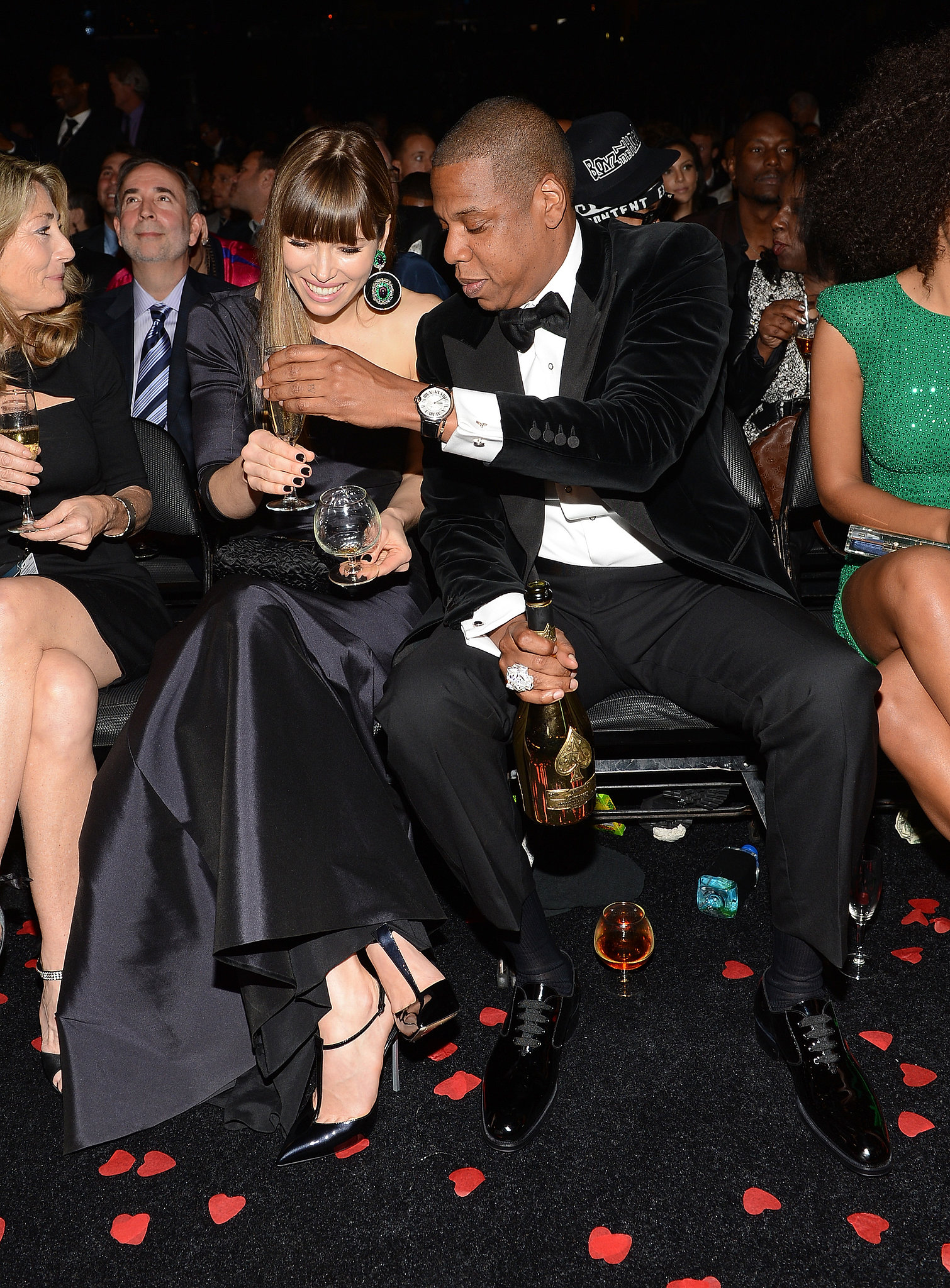 Jessica Biel shared drinks with Jay-Z at the Grammys.