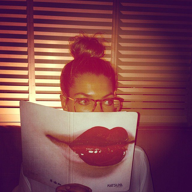 Jessica Hart got lippy with a menu while dining at Katsuya in Miami. Source: Instagram user 1jessicahart