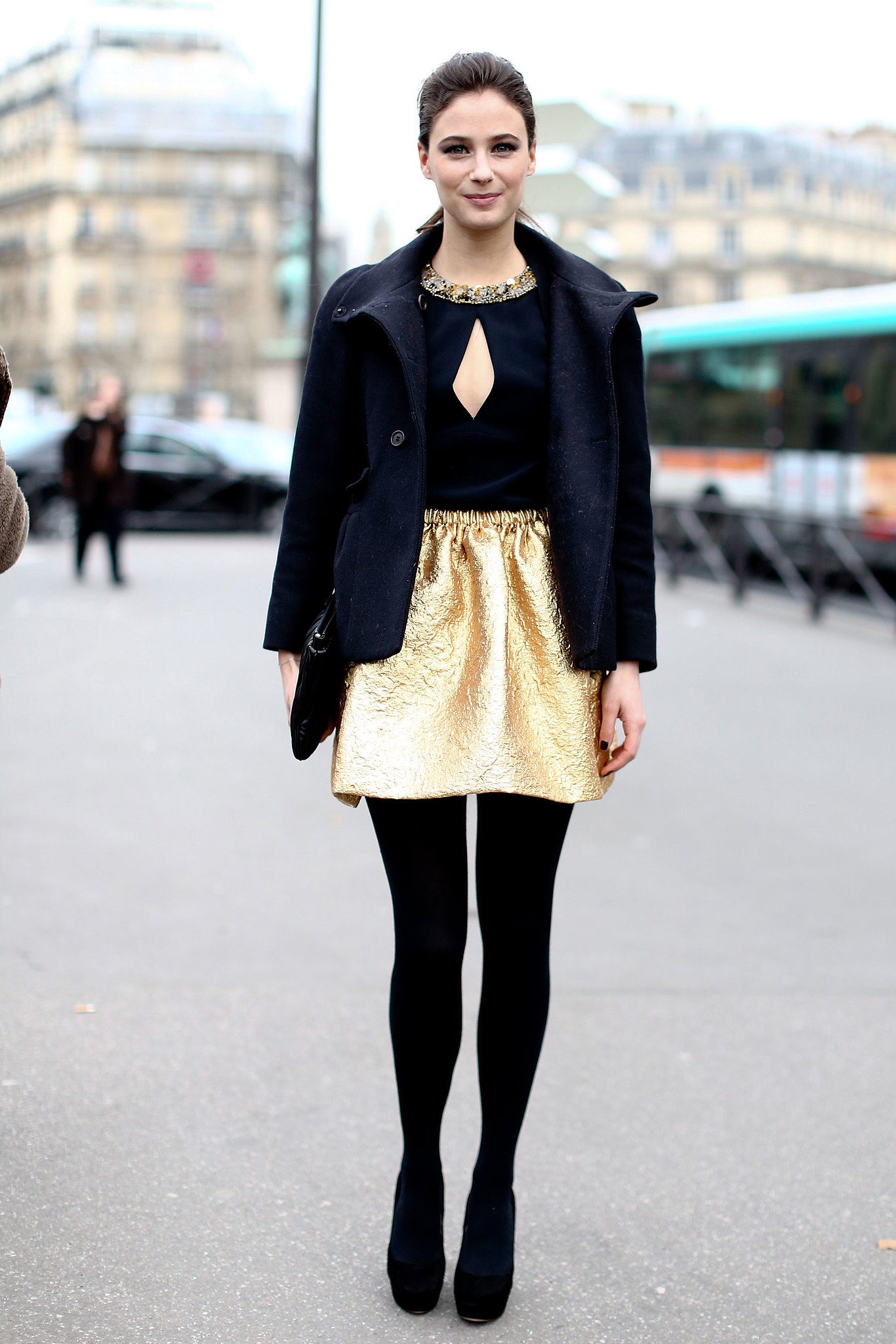 A standout metallic piece is the quickest way to get party ready. Think about getting your dose in the way of a miniskirt: black-tight-clad legs make the color really pop.