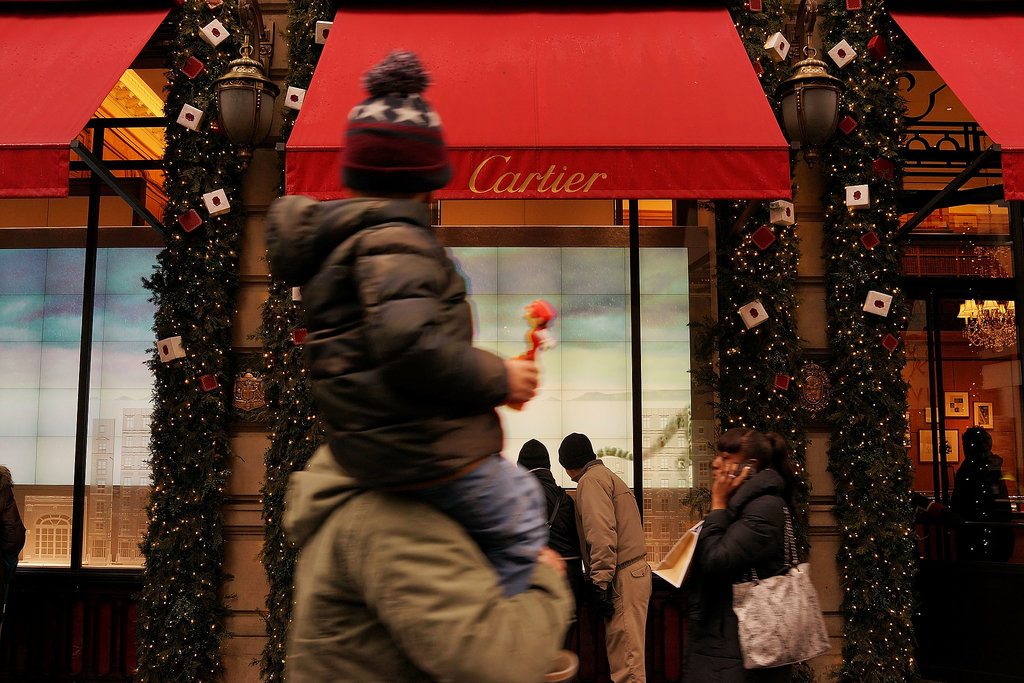 Families enjoyed window shopping in the Big Apple.